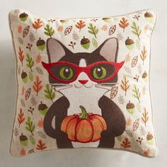 It's autumn and it's raining acorns and leaves! Invite our festive little feline over for some cuddle time. Specs may be small, but he's got cuteness down pat. Our cotton pillow with colorful embroidery is sure to appeal to feline fans everywhere. Crazy Cat Lady, Crazy Cats, Fall Halloween, Happy Halloween, Seasonal Decor, Fall Decor, Pumpkin Pillows, Cat Pillow, Cotton Pillow