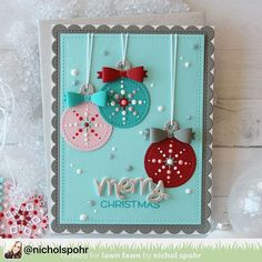 Such a lovely holiday card by @nicholspohr ! :: The @lawnfawn design team is showcasing the new Winter Tiny Tags and Happy Happy Happy Add On stamps and dies today. I love the @tonicstudiosusa Nuvo Crystal Drops on my Stitched Tags so much that I adorned the hanging Ornaments and snowflake tags the same way! #linkinprofile #lawnfawn #wintertinytags #happyhappyhappyaddon
