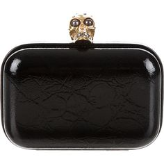 Pre-owned Alexander McQueen Skull Box Clutch ($1,095) ❤ liked on Polyvore featuring bags, handbags, clutches, black, pre owned handbags, preowned handbags, skull box clutch, skull purse and box clutch