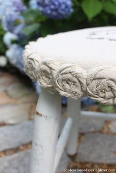 Mini Drop Cloth Rosette Stool Makeover {a $5 Yard Sale Find} | Confessions of a Serial Do-it-Yourselfer