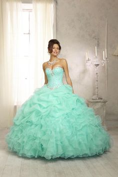 Vizcaya Quinceanera by Mori Lee - 88083 Crystal Beaded Bodice on a Ruffled Organza Skirt with matching Bolero coming in mint, ice pink, pale lemon and white at Estelle's Dressy Dresses! #estellesdressydresses #sweetsixteen #quinceanera