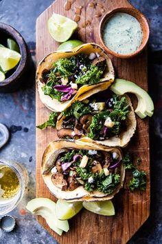 Poblano Mushroom Tacos with Cilantro Yogurt Sauce /