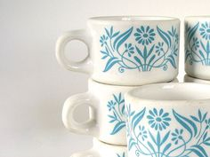 Mod Turquoise Flowered Dinner Cups Stackable Vintage Retro Dishes Set of 8 :: bythewayside Shop :: $32.00