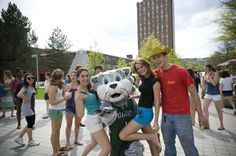 Students Pose with Baxter at Spring Fling