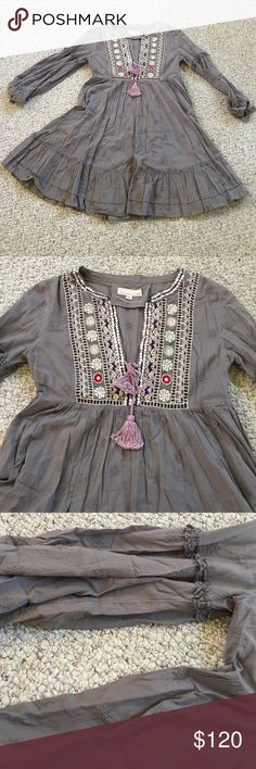 Beautiful Odd Molly Dress, size 2 Beautiful Odd Molly Dress, size 2. Absolutely beautiful Odd Molly dress, worn once! Gray, purple, lavender colors; beautiful detail. Must have! Noticed some white marks on front , hardly noticeable. Shown in 6th pic. Odd Molly Dresses