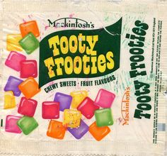 British company, Rowntrees, launched their Tooty Frooties sweets in 1963 1970s Childhood, My Childhood Memories, 70s Sweets, Retro Sweets Uk, Sweet Wrappers, British Sweets, Chocolate Sweets, Those Were The Days, Vintage Recipes
