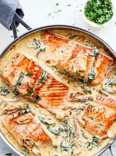 Creamy Garlic Butter Tuscan Salmon (OR TROUT) is such an incredible recipe! Rest… Creamy Garlic Butter Tuscan Salmon (OR TROUT) is such an incredible recipe! Restaurant quality salmon in a beautiful creamy Tuscan sauce! Delicious Salmon Recipes, Healthy Chicken Recipes, Shrimp Recipes, Cooking Recipes, Sauce Recipes, Cooking Food, Trout Recipes, Baked Salmon Recipes, Easy Cooking