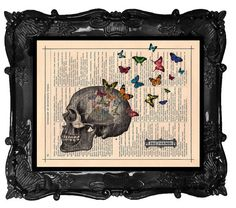 Halloween SKELETON Skull with Butterflies art by BlackBaroque  I feel the desperate need to make this into a jewellery board