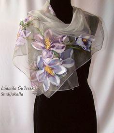 Natural silk shawl floralcrocuses gray hand by Studijakalla