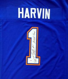 "Percy Harvin Autographed Florida Gators Blue Jersey """"2x Nat'l Champs"""" PSA/DNA ITP"