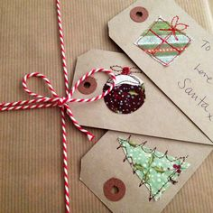 Embroidered Christmas gift tags