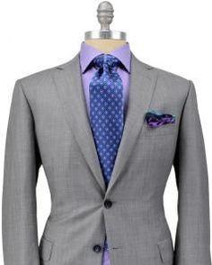 Mens Fashion on Share Sunday Brioni Solid Grey Suit Light Grey Suits, Grey Suit Men, Black Suits, Mens Fashion Suits, Mens Suits, Fashion Menswear, Men's Fashion, Sharp Dressed Man, Well Dressed Men