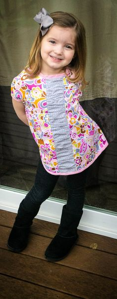 Evelyn Dress and Tunic - Pattern Tester & Review - Eggo in the Oven.  Adorable tunic / dress in sizes from 3 months through girls 12 by Peek-a-Boo Patterns