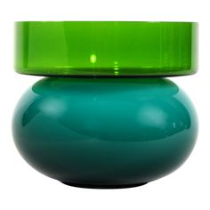 "MEMPHIS: glass vase, ""puzzle green and green"" by Ettore Sottsass"