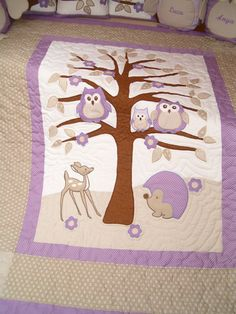 Kids Blankets, Handmade Quilt Blanket, Purple Owl Quilt and Owl Pillow Owl Quilts, Cute Quilts, Applique Quilts, Baby Quilts, Embroidery Applique, Baby Quilt Patterns, Owl Patterns, Owl Bags, Purple Owl