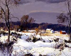 (Harry Leith-Ross, Snowy Morning in Jericho, ca. 1930s, oil on canvas, H.24 x W.30 inches. Collection of Thomas and Karen Buckley