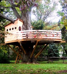 We built a boat!  This tree house was built in accordance to a matchbox size model our young client requested we duplicate.