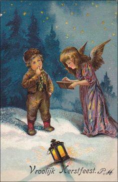 "PFB Serie 2917, Angel Writing A Message To The Dutch Boy, ""Vroolijk Kerstfeest"" - Merry Christmas, PU-1905 Item# SCVIEW433088 (260086748)"