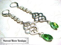 Wedding Earrings Celtic Knot Bridal Jewelry Viking Handfasting Wedding Jewelry Green White Pearl Wedding Earrings Dangle Earrings Gift by AngiePinkal