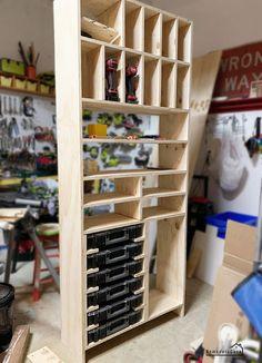 Diy Garage Storage Cabinets, Diy Storage Shelves, Garage Tool Storage, Workshop Storage, Table Storage, Diy Cabinets, Storage Boxes, Garage Organization, Storage Ideas