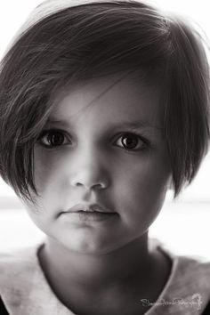 Vermont photographer, Shannon Alexander Photography, child portrait, black and white, bob haircut