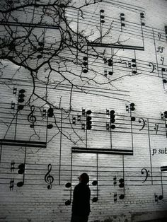 Music notes, tree, silhouette, wall, beauty, street art, artistic, photo b/w.