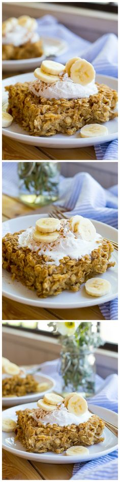 This peanut butter and banana oatmeal bake is the perfect healthy make ahead breakfast!