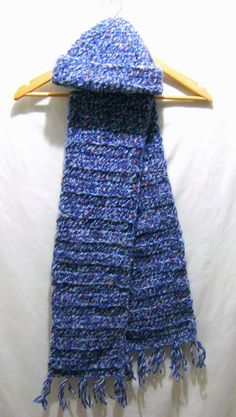 Red Blue Light Blue Ribbon Confetti Crochet Scarf by BenitaMarie on Etsy