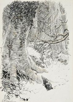 Mole lost in the Wild Wood. E H Shepard's illustration for 'The Wind in the Willows' by Kenneth Grahame