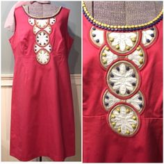 """Boden Fun Dress Classic Boden silhouette in a magenta pink with beaded detail on bodice and neckline. Side zipper, fully lined, cotton/elastane has some give to fabric. Excellent condition/some of the beads have a slight tint to them. 43"""" chest, 38"""" waist, 46"""" hips, about 40"""" length Boden Dresses"""