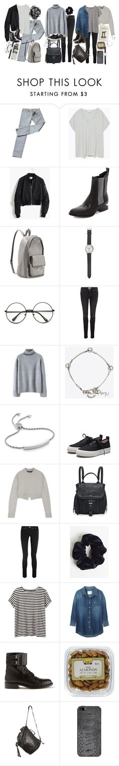 """Inspired outfits for exams"" by nikka-phillips ❤ liked on Polyvore featuring Miu Miu, Zara, Madewell, Alexander Wang, STELLA McCARTNEY, J.Crew, Paige Denim, Yves Saint Laurent, Monica Vinader and Eytys"