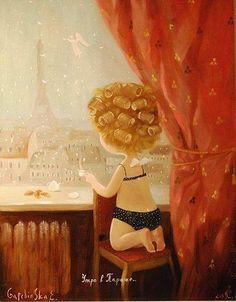 Cute painting by the Ukrainian artist Eugenia Gapchinska Morning in Paris