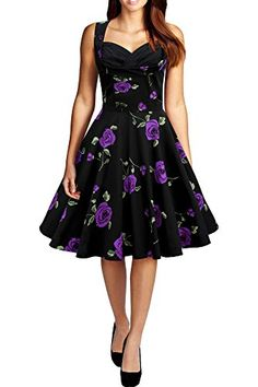 Black Butterfly Aura Classic Infinity 50s Dress Large Purple Roses US 4 * To view further for this item, visit the image link.