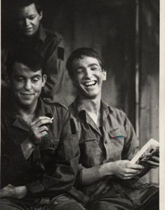 "playing the part of a private in ""The Long and The Short and the Tall"" age 17 or 18, Latymer Upper School, class of 1964 (on right)"