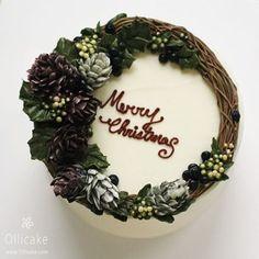 Xem ảnh này của @ollicake trên Instagram • 668 lượt thích Christmas Cakes Images, Christmas Cake Designs, Holiday Cakes, Korean Buttercream Flower, Buttercream Flower Cake, Christmas Hacks, Christmas Baking, Cake Name, Merry Christmas Wishes