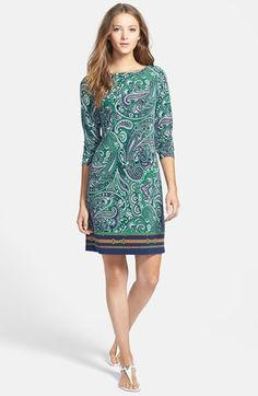 MICHAEL Michael Kors Boatneck Border Print Shift Dress (Regular & Petite) available at #Nordstrom