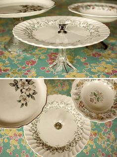 PLATE CRAFTS :: DIY Vintage Cake Stands :: Made w/ plates, candle holders & crystal drawer pulls along w/ some SLOW DRYING Epoxy (the quick dry stuff dries too fast if you're making more than one plate) Old Plates, Vintage Plates, Cake Plates, Vintage China, Craft Gifts, Diy Gifts, Make Your Own, Make It Yourself, How To Make