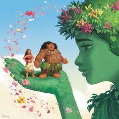 Moana, Maui and Te Fiti with beautiful colorful flowers Moana Disney, Film Disney, Disney Magic, Disney Movies, Disney Stuff, Disney Princess Art, Disney Fan Art, Princesse Disney Swag, Disney Mignon