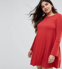 ASOS CURVE Mini Swing Dress with Seam Detail and Trumpet Sleeve - Red