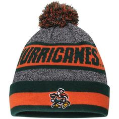 Miami Hurricanes Top of the World Youth Cumulus Cuffed Knit Hat - Charcoal 68116feadba3