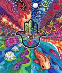 Hamsa Art Print by Julie Oakes. All prints are professionally printed, packaged, and shipped within 3 - 4 business days. Choose from multiple sizes and hundreds of frame and mat options. Psychedelic Drawings, Trippy Drawings, Art Drawings, Hippie Painting, Trippy Painting, Eye Painting, Hippie Wallpaper, Trippy Wallpaper, Hamsa Art