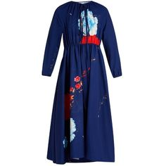 Vetements Floral-print tie-neck crepe dress (€2.165) ❤ liked on Polyvore featuring dresses, blue multi, floral necktie, tie neck tie, blue floral dress, floral print dress and flower print dress