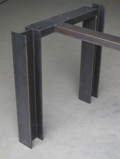 I-Beam Base w/ Cross Bar - Steel base for pub-height meeting and dining tables. Concrete Furniture, Iron Furniture, Steel Furniture, Custom Furniture, Furniture Design, Furniture Ideas, Industrial Table, Industrial Furniture, Repurposed Furniture