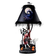 Tim Burton's The Nightmare Before Christmas Moonlight Table Lamp With Jack, Sally And Zero by The Bradford Exchange