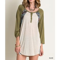 LOWEST PRICE Tribal Print Button Baseball Tee Long sleeve Colorblock baseball tee with tribal print elements. Available in mauve and olive. This listing is for the OLIVE (first three pics). Brand new. True to size but a loose fit. NO TRADES. Bare Anthology Tops Tees - Long Sleeve