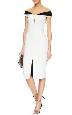 CUSHNIE ET OCHS Black and White Neoprene Sheath Dress
