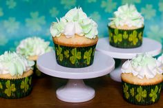 Shamrock Shake Cupcakes  http://www.withsprinklesontop.net/?p=1881#comment-29201