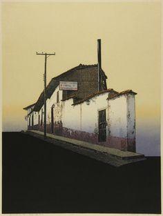 Houses along a slope way 1982 woodblock print. Art Is Dead, Japanese Art Modern, Magic Realism, Naive Art, Japan Art, Environmental Art, Fantastic Art, Land Art, Pictures To Paint