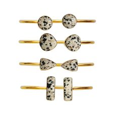 Dalmatian Jasper Bangles  www.lovetatum.com #lovetatum #lovetatumjewelry #bangle #blackandwhite #bracelet #dalmatianjasper