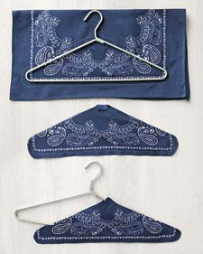 How-To Bandanna Hangers Bandanna Hangers Small Sewing Projects, Sewing Hacks, Sewing Crafts, Wire Hanger Crafts, Wire Hangers, Diy Clothes Hangers, Bandana Crafts, Padded Hangers, Organizer